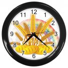 Rainbow Bread And Wheat Black Frame Kitchen Wall Clock