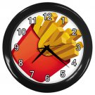French Fries Black Frame Kitchen Wall Clock