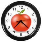 Red Apple Black Frame Kitchen Wall Clock