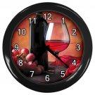 Red Wine Glass Bottle Black Frame Kitchen Wall Clock