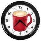 Red Coffee Mug Black Frame Kitchen Wall Clock