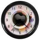 Heart Cup Of Coffee Black Frame Kitchen Wall Clock