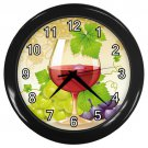Wine Glass With Grapes Black Frame Kitchen Wall Clock