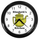 Personalized Green Teapot Kitchen Wall Clock