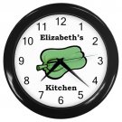 Personalized Green Pepper Kitchen Wall Clock