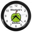 Personalized Green Apple Kitchen Wall Clock