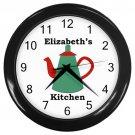 Personalized Dark Green Teapot Kitchen Wall Clock