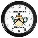 Personalized Cream Teapot Kitchen Wall Clock