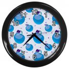 Blue Apple Pattern Black Frame Kitchen Wall Clock