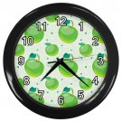 Green Apple Pattern Black Frame Kitchen Wall Clock