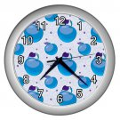 Blue Apple Pattern Silver Frame Kitchen Wall Clock