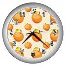Orange Apple Pattern Silver Frame Kitchen Wall Clock
