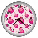 Pink Apple Pattern Silver Frame Kitchen Wall Clock