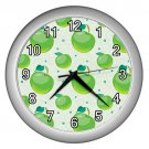 Green Apple Pattern Silver Frame Kitchen Wall Clock
