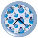 Blue Apple Pattern Blue Frame Kitchen Wall Clock