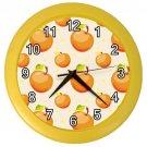 Orange Apple Pattern Yellow Frame Kitchen Wall Clock