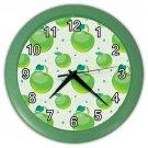 Green Apple Pattern Green Frame Kitchen Wall Clock