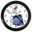 Christmas Snowman With Bag Black Frame Novelty Christmas Wall Clock