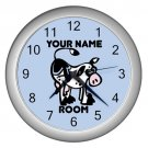 Blue Personalized Cow Wall Clock