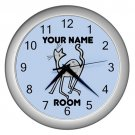 Blue Personalized Cat Wall Clock