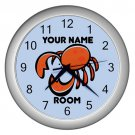 Blue Personalized Crab Wall Clock