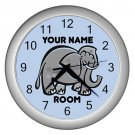 Blue Personalized Elephant Wall Clock
