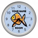 Blue Personalized Fish Wall Clock