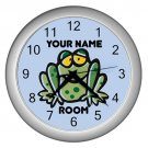 Blue Personalized Frog Wall Clock