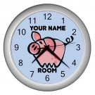 Blue Personalized Pig Wall Clock