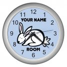 Blue Personalized Rabbit Wall Clock