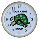 Blue Personalized Turtle Wall Clock