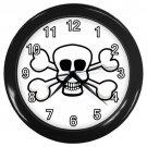 White Skull And Cross Bones Black Frame Novelty Wall Clock