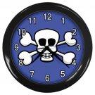 White Skull And Cross Bones Blue Black Frame Novelty Wall Clock