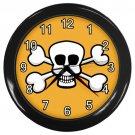 White Skull And Cross Bones Orange Black Frame Novelty Wall Clock