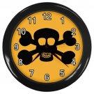 Black Skull And Cross Bones Orange Black Frame Novelty Wall Clock