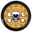 Personalized White Skull And Cross Bones Orange Black Frame Novelty Wall Clock