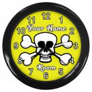 Personalized White Skull And Cross Bones Yellow Black Frame Novelty Wall Clock