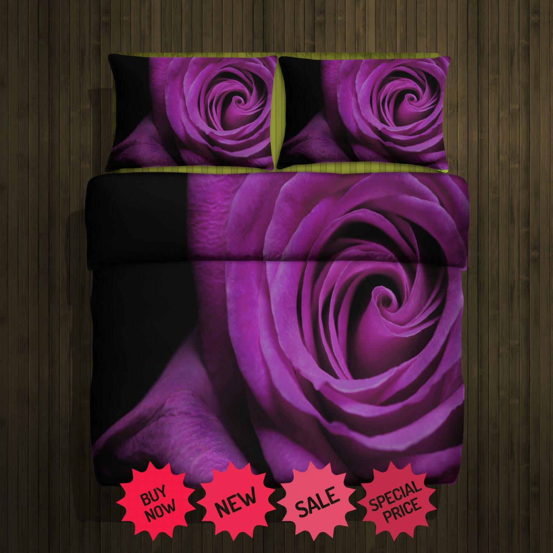 Purple Rose Fleece Blanket Large & 2 Pillow Cases #86052672 ,86052675 (2)