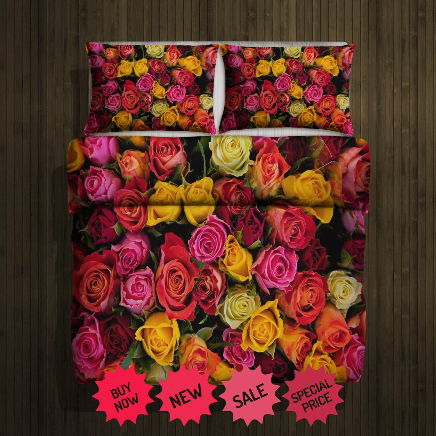 Colorful Roses Blanket Large & 2 Pillow Cases #96488633,96488635(2)