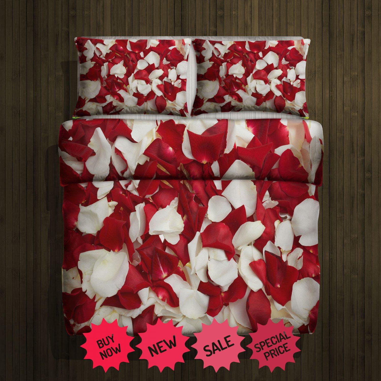 Rose white & Red Blanket Large & 2 Pillow Cases #98637182 ,98637780(2)
