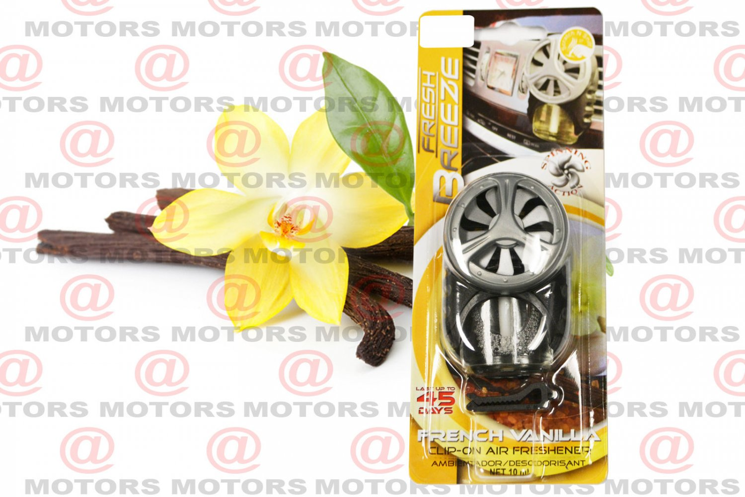 Car Air Freshener Vanilla Clip-on Net 10ml Last Up To 45 Days Spinning Action