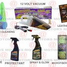 12 Volt Vacuum Microfiber Cleaning Tire Shine Leather Wipes Protectant 16 oZ Kit