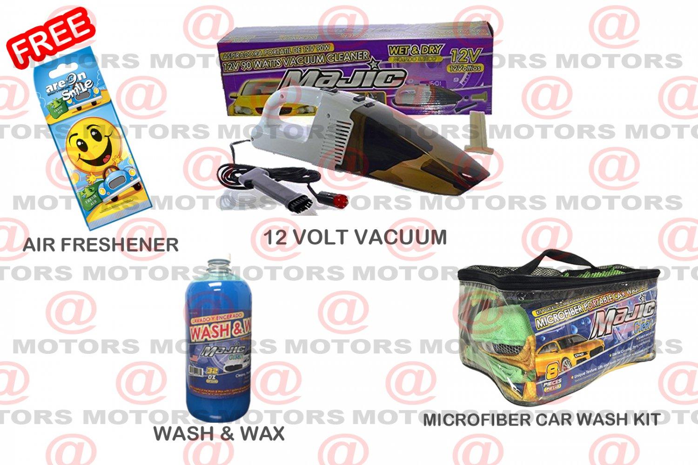 Wash & Wax Concentrate 16oZ 12 Volt Vacuum 90 Watt Microfiber Portable Car Wash