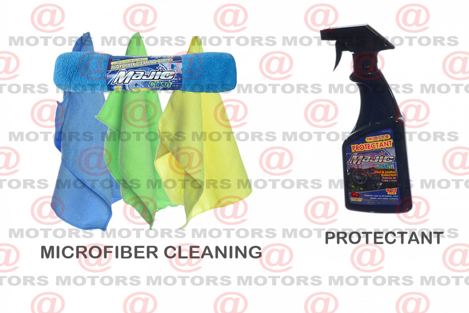 """Majic Protectant 16 oZ Microfiber Cleaning Cloths Size 12""""X16"""" 3 Pk Car Care Kit"""