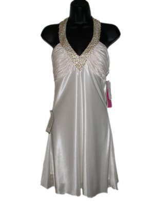 NWT MORGAN & CO Ivory Gold Sequin Beaded Halter Neck Cocktail Mini Dress S