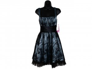 MORGAN & CO Black Slate blue Lace Ruffle Prom Dress 11 12