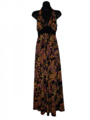 NWT COCOMO Black OrangeLong Summer Stretch Maxi Dress Small