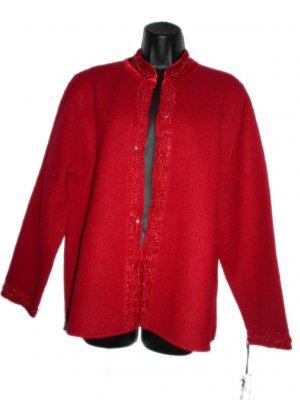 NEW ALEXANDRA BARTLETT  Red Wool Cardigan  L