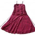 UN DEUX TROIS Burgundy Cinch Ribbon Dress 14 16 XL