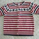 NEW GYMBOREE Bon Voyage Red White  Sweater Cardigan 8